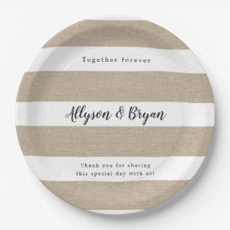 Rustic  stripe wedding reception plates