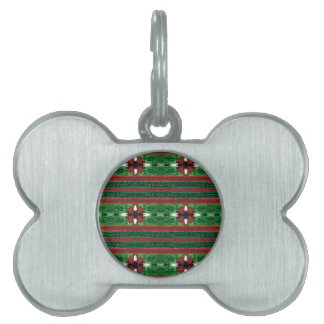 Rustic Striped Red Green Holiday Pattern Pet Tag