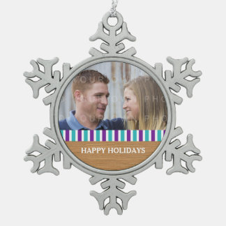 Rustic Stripes Holiday Photo Pewter Ornament