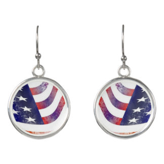 Rustic Style American Flag Earrings