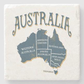 Rustic Style Australia States Map Stone Beverage Coaster