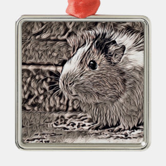 rustic style -guinea pig metal ornament