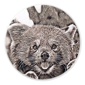 Rustic Style - Red Panda 2 Ceramic Knob