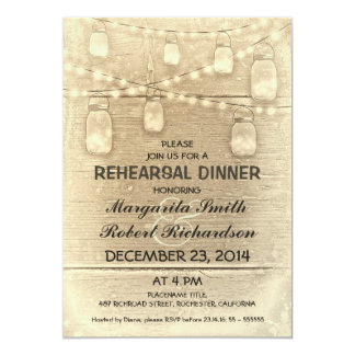 rustic stylish mason jars rehearsal dinner 13 cm x 18 cm invitation card