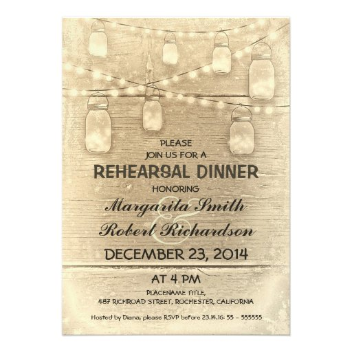 rustic stylish mason jars rehearsal dinner custom invitations