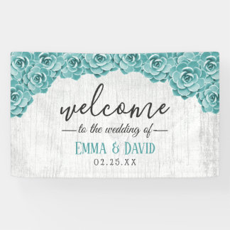 Rustic Succulent Floral Barn Wood Wedding Welcome Banner