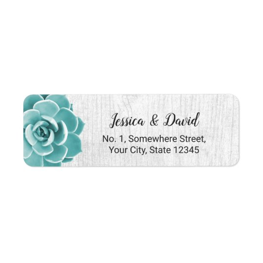 Rustic Succulent Floral Elegant Barn Wood Return Address Label