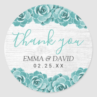 Rustic Succulent Floral Elegant Wedding Thank You Classic Round Sticker