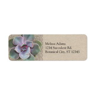 Rustic Succulent Wedding Address Label