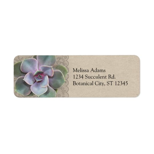 Rustic Succulent Wedding Address Label