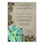 Rustic Succulents Brown Swirls Wedding 13 Cm X 18 Cm Invitation Card