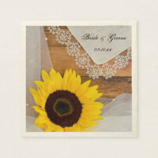 Rustic Sunflower and Lace Country Wedding Disposable Napkins