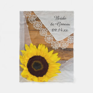 Rustic Sunflower and Lace Country Wedding Fleece Blanket