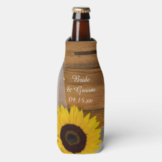 Rustic Sunflower and Veil Country Wedding Favor Bottle Cooler