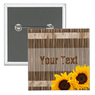 Rustic Sunflower Barn Wood with DIY Text 15 Cm Square Badge