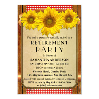 Rustic Sunflower BBQ Retirement Party Invitation