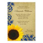 Rustic Sunflower Blue Swirls Bridal Shower 13 Cm X 18 Cm Invitation Card