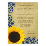 Rustic Sunflower Blue Swirls Wedding 13 Cm X 18 Cm Invitation Card