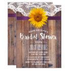 Rustic Sunflower Bridal Shower Laced Barn Wood Card