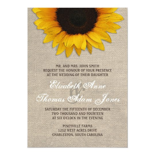 Rustic Sunflower & Burlap Wedding Invitation