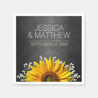 Rustic Sunflower Chalkboard Wedding Disposable Serviette