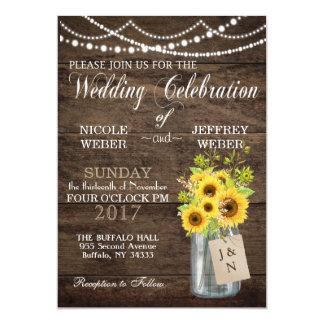 Rustic Sunflower Country Mason Jar Wedding Card