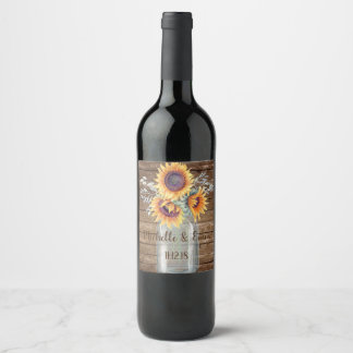 Rustic Sunflower Country Mason Jar Wedding Label