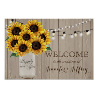 Rustic Sunflower Country Mason Jar Wedding Poster