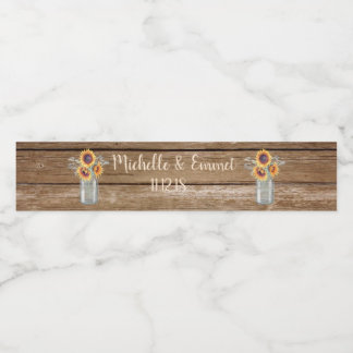 Rustic Sunflower Country Water Bottle Label