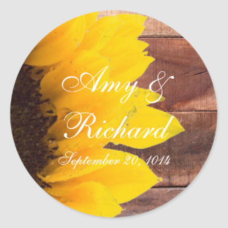 Rustic Sunflower Country Wedding Classic Round Sticker