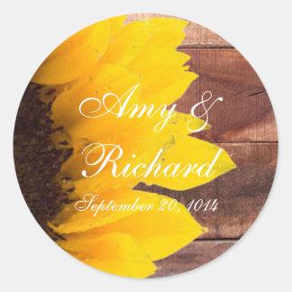 Rustic Sunflower Country Wedding Round Sticker