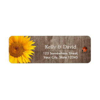 Rustic Sunflower Cute Ladybug Barn Wood Wedding Return Address Label