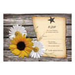 Rustic Sunflower Daisy Wedding Reply Card Personalised Announcements