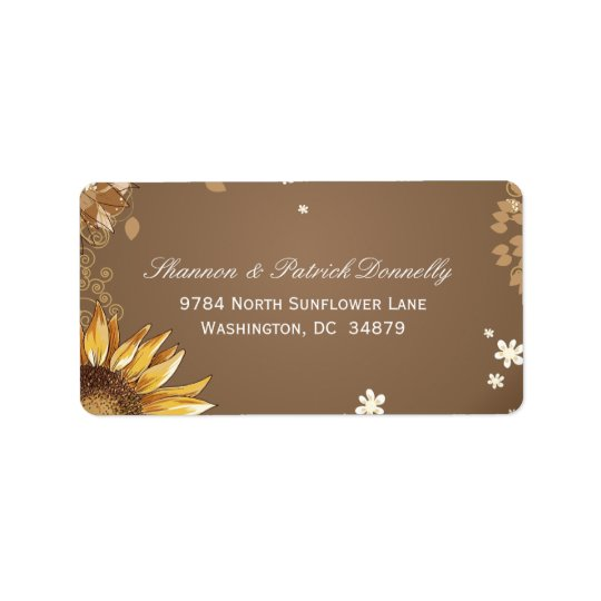 Rustic sunflower floral taupe wedding address label