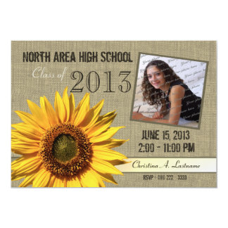 Rustic Sunflower Graduate Photo 13 Cm X 18 Cm Invitation Card