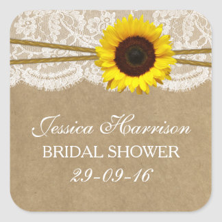 Rustic Sunflower Kraft Lace & Twine Bridal Shower Square Sticker
