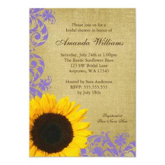 Rustic Sunflower Lavender Swirls Bridal Shower 13 Cm X 18 Cm Invitation Card