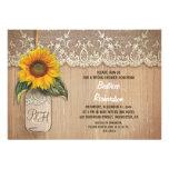 rustic sunflower mason jar bridal shower custom invitations