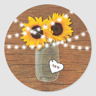 RUSTIC SUNFLOWER MASON JAR WEDDING HEART STICKERS