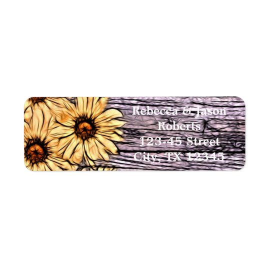 Rustic Sunflower on Barnboard Return Address Label