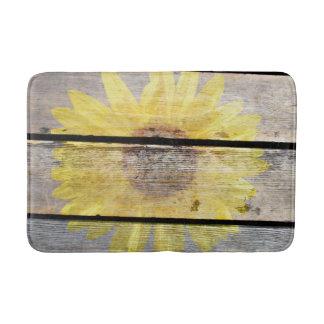 Rustic Sunflower On Wood Bath Mats