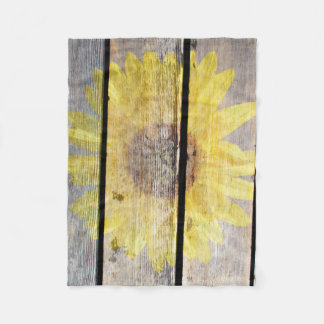 Rustic Sunflower On Wood Fleece Blanket