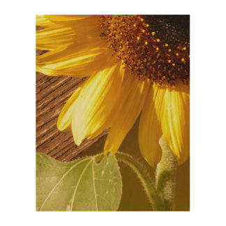 Rustic Sunflower on Wood Wood Wall Decor