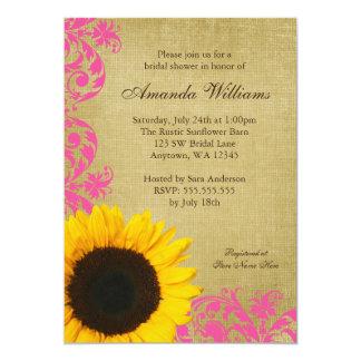Rustic Sunflower Pink Swirls Bridal Shower 13 Cm X 18 Cm Invitation Card
