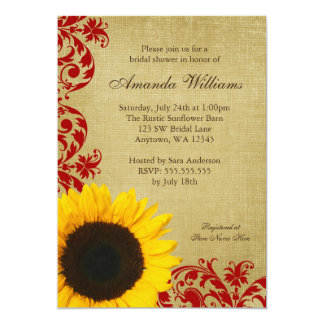 Rustic Sunflower Red Swirls Bridal Shower 13 Cm X 18 Cm Invitation Card