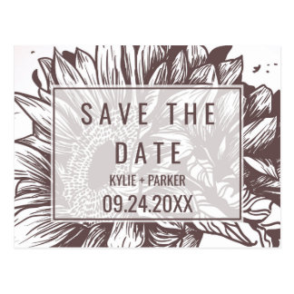 Rustic Sunflower Save the Date Postcard