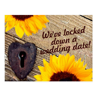 Rustic Sunflower Save The Date Wedding Post Card