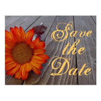 Rustic Sunflower Save The Date Wedding Postcard