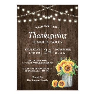 Rustic Sunflower String Lights Thanksgiving Dinner Card