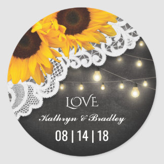 Rustic Sunflower String of Lights Lace Wedding Round Sticker